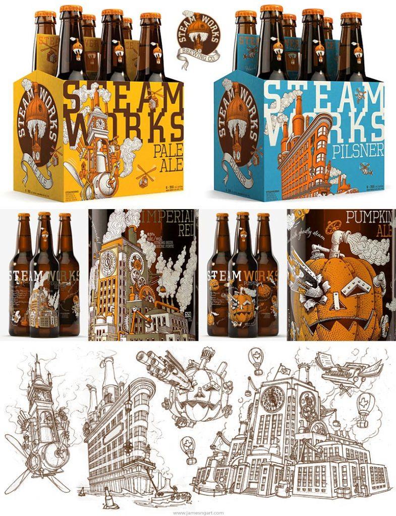 Design de bouteilles pour Steamworks Brewery